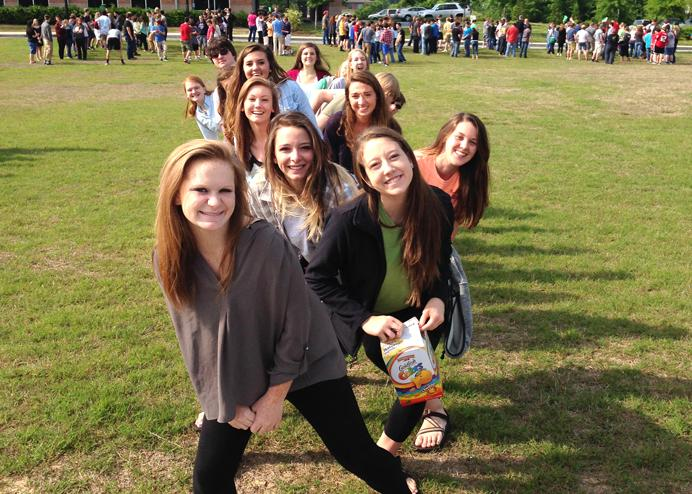 Last year's journalism staff knows how to work a fire drill!